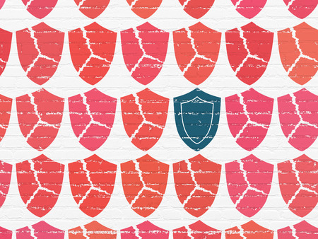 Privacy concept: rows of Painted red broken shield icons around blue shield icon on White Brick wall background, 3d render photo