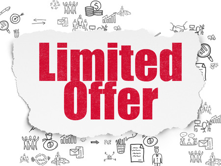 Business concept: Painted red text Limited Offer on Torn Paper background with Scheme Of Hand Drawn Business Icons, 3d render photo