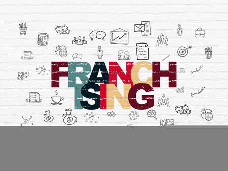 franchising: Business concept: Painted multicolor text Franchising on White Brick wall background with  Hand Drawn Business Icons, 3d render