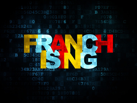 franchising: Business concept: Pixelated multicolor text Franchising on Digital background, 3d render