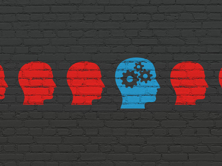 Business concept: row of Painted red head icons around blue head with gears icon on Black Brick wall background, 3d render photo