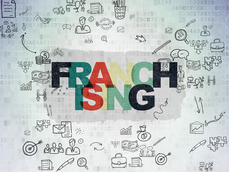 franchising: Business concept: Painted multicolor text Franchising on Digital Paper background with Scheme Of Hand Drawn Business Icons, 3d render
