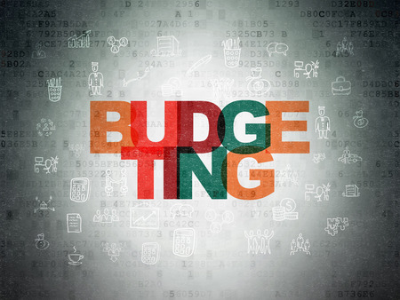 budgeting: Finance concept: Painted multicolor text Budgeting on Digital Paper background with  Hand Drawn Business Icons, 3d render