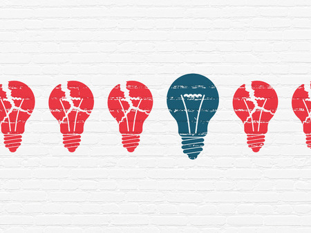 Business concept: row of Painted red light bulb icons around blue light bulb icon on White Brick wall background, 3d render photo