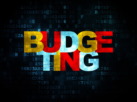 budgeting: Finance concept: Pixelated multicolor text Budgeting on Digital background, 3d render Stock Photo