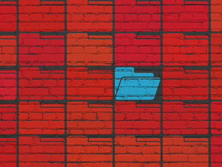 Business concept: rows of Painted red folder icons around blue folder icon on Black Brick wall background, 3d render photo