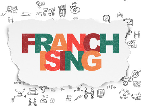 franchising: Business concept: Painted multicolor text Franchising on Torn Paper background with Scheme Of Hand Drawn Business Icons, 3d render