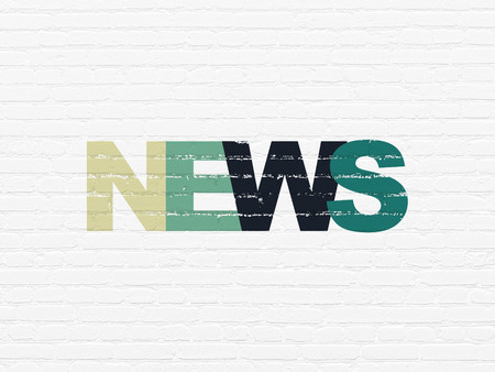News concept: Painted multicolor text News on White Brick wall background, 3d render