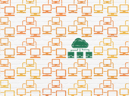 lan: Cloud computing concept: rows of Painted orange lan computer network icons around green cloud network icon on White Brick wall background, 3d render Stock Photo