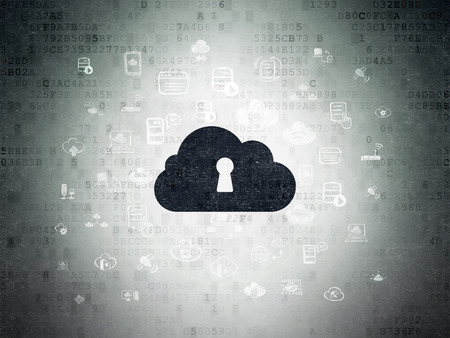 Cloud computing concept: Painted black Cloud With Keyhole icon on Digital Paper background with  Hand Drawn Cloud Technology Icons, 3d render photo