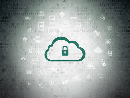 green computing: Cloud computing concept: Painted green Cloud With Padlock icon on Digital Paper background with  Hand Drawn Cloud Technology Icons, 3d render