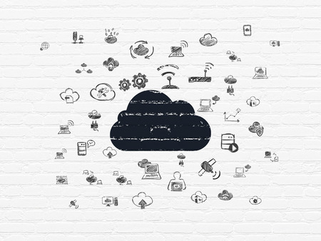 Cloud technology concept: Painted black Cloud icon on White Brick wall background with  Hand Drawn Cloud Technology Icons, 3d render photo