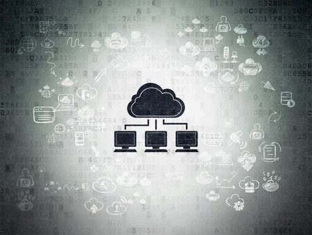 Cloud technology concept: Painted black Cloud Network icon on Digital Paper background with Scheme Of Hand Drawn Cloud Technology Icons, 3d render photo