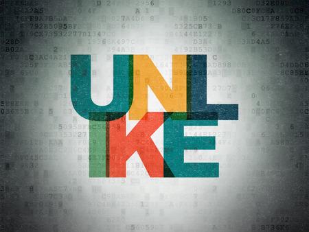 unlike: Social network concept: Painted multicolor text Unlike on Digital Paper background, 3d render