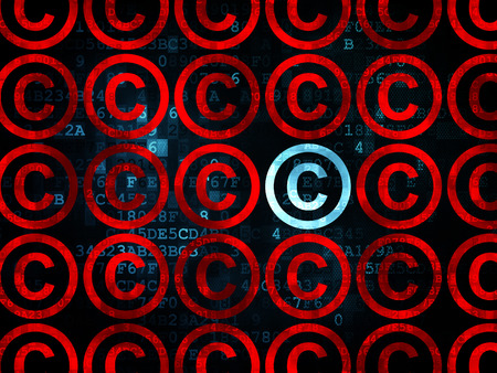 criminal act: Law concept: rows of Pixelated red copyright icons around blue copyright icon on Digital background, 3d render