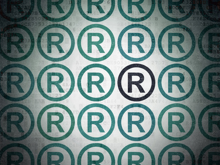 r regulation: Law concept: rows of Painted blue registered icons around black registered icon on Digital Paper background, 3d render
