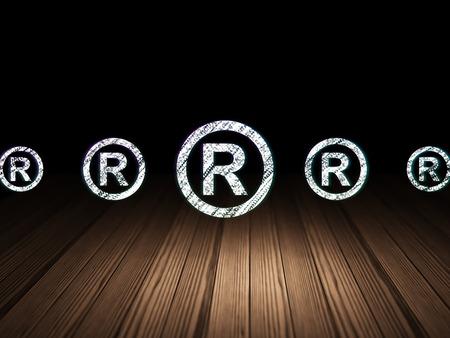 r regulation: Law concept: row of Glowing registered icons around registered icon in grunge dark room Wooden Floor, dark background, 3d render