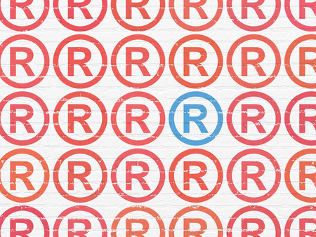 r regulation: Law concept: rows of Painted red registered icons around blue registered icon on White Brick wall background, 3d render