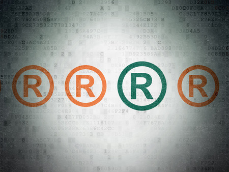 r regulation: Law concept: row of Painted orange registered icons around green registered icon on Digital Paper background, 3d render