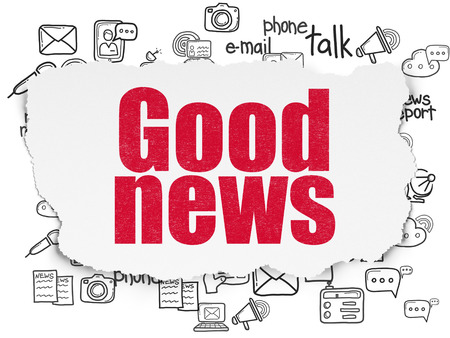 News concept: Painted red text Good News on Torn Paper background with  Hand Drawn News Icons, 3d render Stock Photo