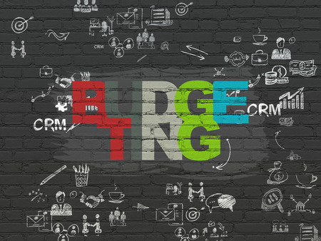 budgeting: Business concept: Painted multicolor text Budgeting on Black Brick wall background with Scheme Of Hand Drawn Business Icons, 3d render