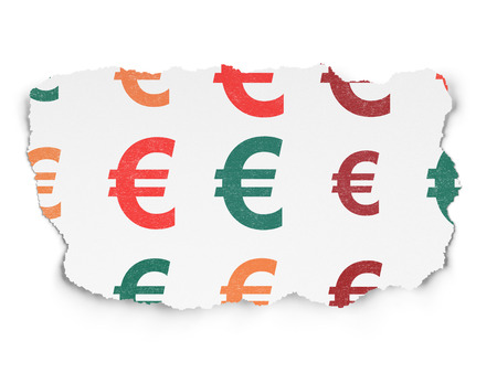 paper currency: Currency concept: Painted multicolor Euro icons on Torn Paper background, 3d render