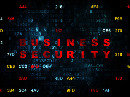 business security: Security concept: Pixelated red text Business Security on Digital wall background with Hexadecimal Code, 3d render