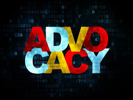 cyber defence: Law concept: Pixelated multicolor text Advocacy on Digital background, 3d render
