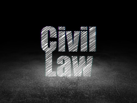 dirty room: Law concept: Glowing text Civil Law in grunge dark room with Dirty Floor, black background, 3d render