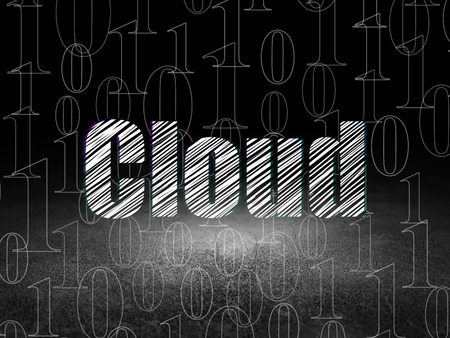 media room: Cloud networking concept: Glowing text Cloud in grunge dark room with Dirty Floor, black background with  Binary Code, 3d render Stock Photo