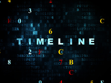 yesterday: Timeline concept: Pixelated blue text Timeline on Digital wall background with Hexadecimal Code, 3d render