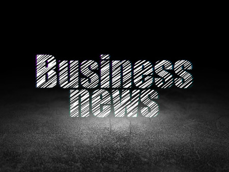 dirty room: News concept: Glowing text Business News in grunge dark room with Dirty Floor, black background, 3d render
