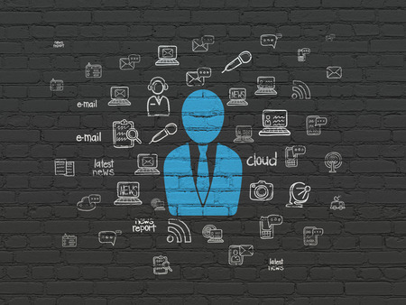 bad news: News concept: Painted blue Business Man icon on Black Brick wall background with  Hand Drawn News Icons, 3d render