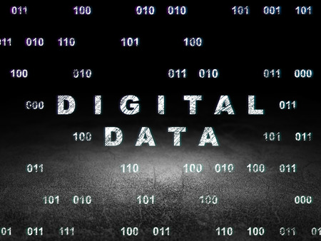 dirty room: Information concept: Glowing text Digital Data in grunge dark room with Dirty Floor, black background with Binary Code, 3d render