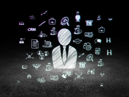 dirty room: Business concept: Glowing Business Man icon in grunge dark room with Dirty Floor, black background with  Hand Drawn Business Icons, 3d render