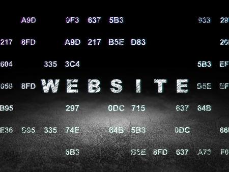 dirty room: Web design concept: Glowing text Website in grunge dark room with Dirty Floor, black background with Hexadecimal Code, 3d render
