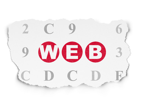 hexadecimal: Web development concept: Painted red text Web on Torn Paper background with  Hexadecimal Code, 3d render