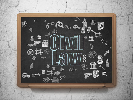 court process: Law concept: Chalk Blue text Civil Law on School Board background with Scheme Of Hand Drawn Law Icons, 3d render