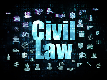 cyber defence: Law concept: Pixelated blue text Civil Law on Digital background with  Hand Drawn Law Icons, 3d render