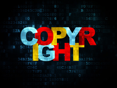 data protection act: Law concept: Pixelated multicolor text Copyright on Digital background, 3d render Stock Photo