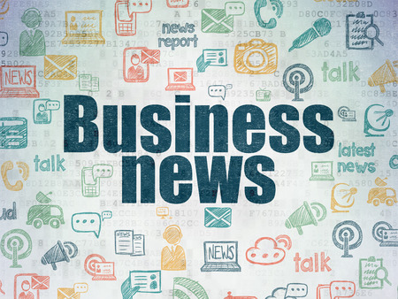 bad news: News concept: Painted blue text Business News on Digital Paper background with   Hand Drawn News Icons, 3d render Stock Photo