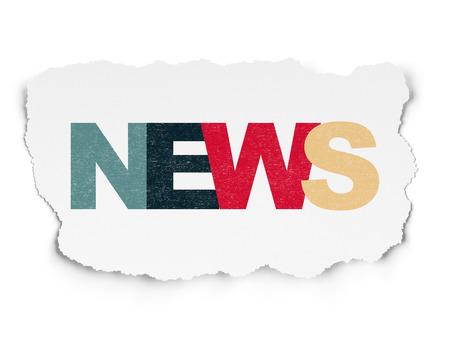 ニュース概念: 引き裂かれた紙の背景、3 d のレンダリングに色付きのテキスト ニュースを塗装 写真素材
