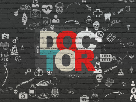 healing process: Healthcare concept: Painted multicolor text Doctor on Black Brick wall background with Scheme Of Hand Drawn Medicine Icons, 3d render Stock Photo