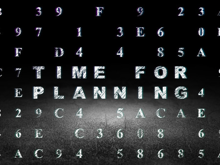 dirty room: Time concept: Glowing text Time for Planning in grunge dark room with Dirty Floor, black background with Hexadecimal Code, 3d render Stock Photo