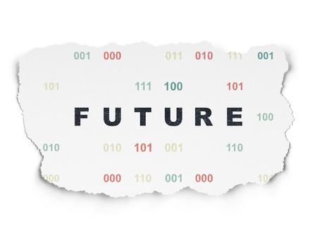 cronologia: Concepto de l�nea de tiempo: Pintadas futuro texto negro sobre fondo de papel rasgado con el c�digo binario, 3d Foto de archivo