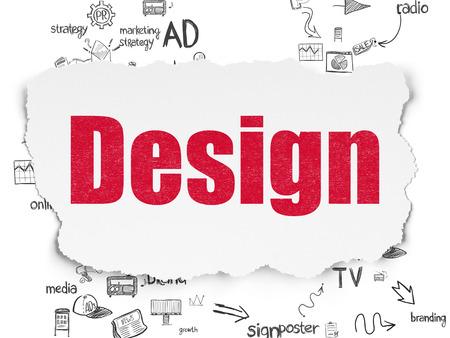 Concepto de publicidad: diseño de texto rojo pintado sobre fondo de papel rasgado con esquema de iconos de marketing dibujado a mano, 3d