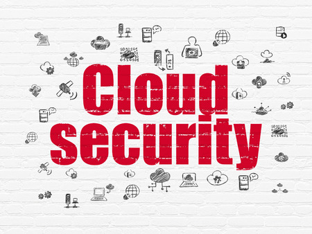 security technology: Cloud networking concept: Painted red text Cloud Security on White Brick wall background with  Hand Drawn Cloud Technology Icons, 3d render