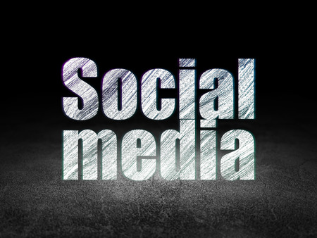 dirty room: Social media concept: Glowing text Social Media in grunge dark room with Dirty Floor, black background, 3d render Stock Photo