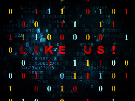microblog: Social network concept: Pixelated red text Like us! on Digital wall background with Binary Code, 3d render