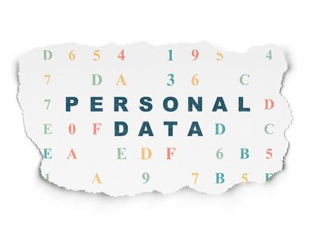 datos personales: Concepto de la informaci�n: Pintadas texto azul de Datos Personales en el fondo de papel rasgado con el c�digo hexadecimal, 3d
